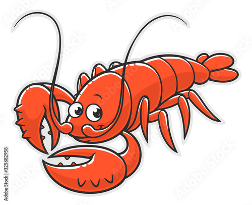 Cartoon red lobster on the white background