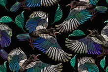 Embroidery Magpie Birds And Feathers. Template For Clothes, Textiles, T-shirt Design