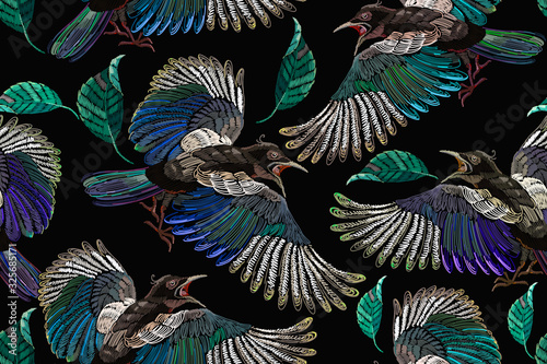 Fototapeta Embroidery magpie birds and feathers