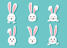 Cute Easter Bunnies Hand Drawn, Paper Face Of Rabbits On Turquoise Background. Elements For Design Greeting Cards. Vector Illustration