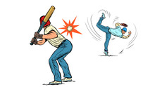 Game Of Baseball. The Pitcher Throws The Ball