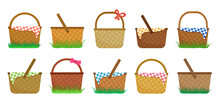 Easter Or Picnic Baskets, Set Of Straw Baskets On The Grass And With Colorful Checkered Tablecloth. Vector