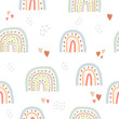 Seamless cute pattern in scandinavian style for kids, children. Rainbow and hearts stars background. Nordic style for fabric, wallpaper, clothes, swaddles, apparel, planner, sticker