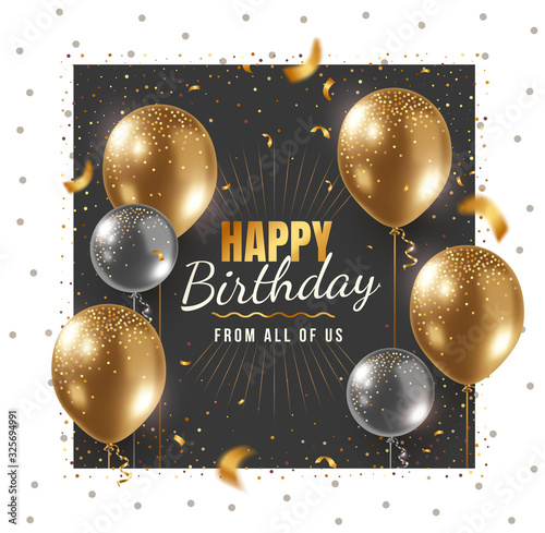 Valokuva Vector happy birthday illustration with 3d realistic golden and silver air balloon in frame on white and black background with text and glitter confetti