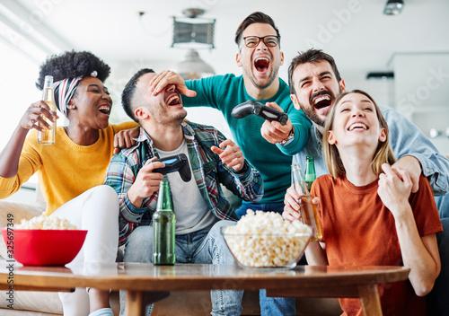 friend beer party video games gaming joystick happy