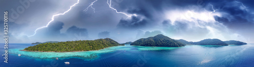 Surin Islands National Park from drone with storm approaching, Thailand Canvas Print