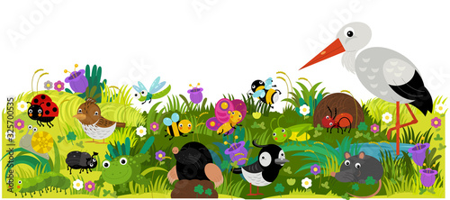 cartoon scene with different european animals rodents and bugs on the forest meadow illustration - 325700535