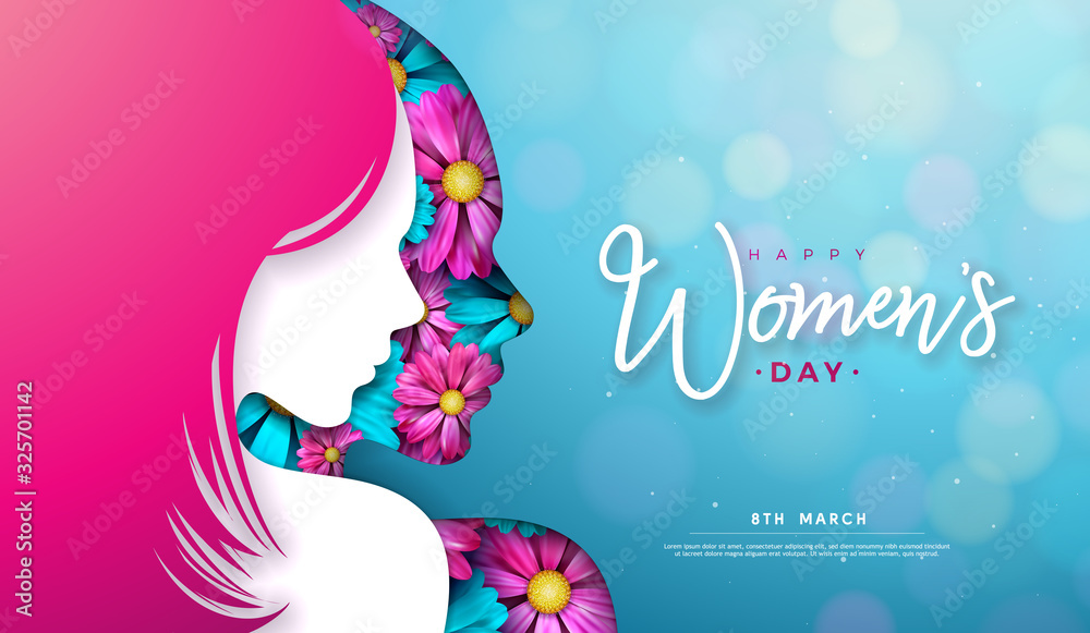8 March. Women's Day Greeting Card Design with Young Woman Silhouette and Flower. International Female Holiday Illustration with Typography Letter on Blue Background. Vector Calebration Template. <span>plik: #325701142 | autor: articular</span>