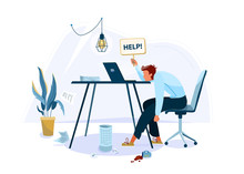 Tired Male Office Worker Sitting On The Chair And Request Help. Burnout Concept Vector Background. Business Flat Cartoon Illustration Isolated On White Backdrop