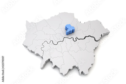 Obraz na plátně Greater London map showing Hackney borough in blue. 3D Rendering