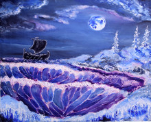 Ancient Ship In Northern Sea. ...