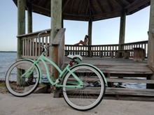 Old Turquoise Bike And White W...