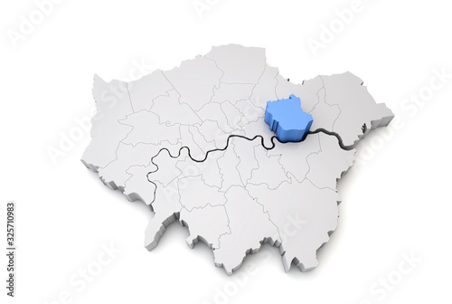 Greater London map showing Newham borough in blue. 3D Rendering Poster Mural XXL