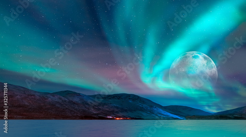Fototapety, obrazy: Northern lights (Aurora borealis) in the sky over Tromso, Norway