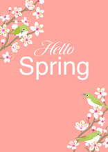 "Three Little Birds Perching On Cherry Blossom Twigs, Vertical Layout - Included Words ""Hello Spring"""