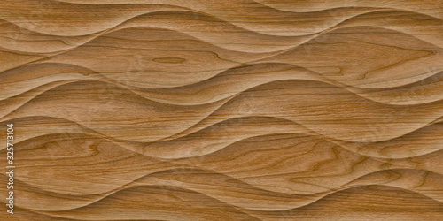 Fototapeta deski  3d-render-wood-realistic-background-trendy-ripple-wallpaper-interior-decoration