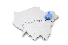 Greater London Map Showing Barking And Dagenham Borough In Blue. 3D Rendering