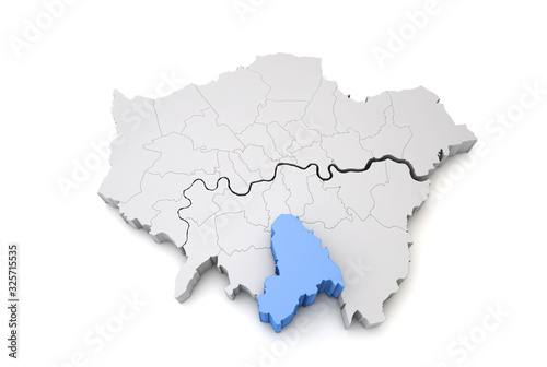 Photographie Greater London map showing Croyden borough in blue. 3D Rendering