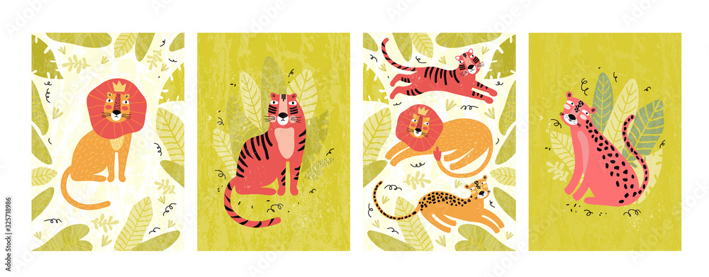 Fototapeta Cute leopard, tiger and lion in the jungle. Set of vertical postcards and banners in vector. Funny wild animal in tropical leaves and plants. Exotic cat cartoon character. Hand drawn illustration.