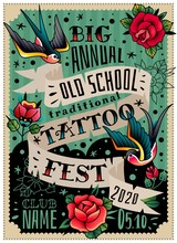 Old School Traditional Tattoo Poster