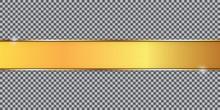 Gold Ribbon Banner On Transpar...