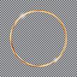golden round frame on transparent background