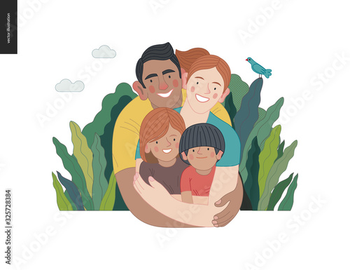 Happy international family with kids -family health and wellness -modern flat vector concept digital illustration of a happy family of parents and children, family medical insurance plan