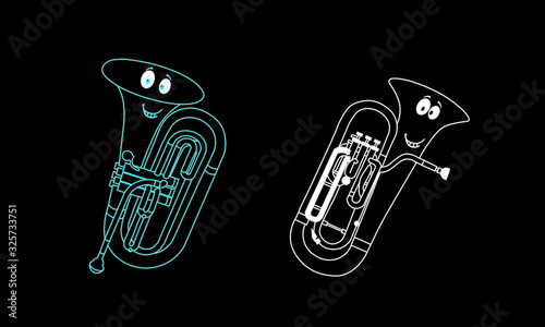 Photo Colour neon line, vector stock flat characters, shape or outline forms of musica