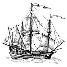 Old Caravel, Vintage Sailboat. Hand Drawn Vector Sketch.