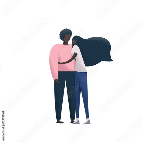 Fototapety, obrazy: Young romantic African American couple. Man and woman isolated on white background. Colorful vector illustration in flat style.