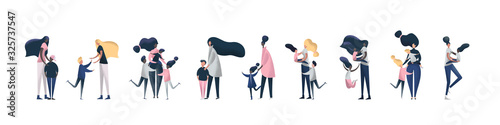 Collection of single mother with their children Canvas Print