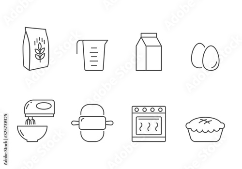 Fototapeta Bakery recipe and ingredients vector icons line style obraz
