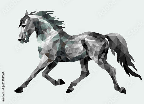Canvas-taulu silver running pony drawn in polygonal style, monochrome isolated image on a whi