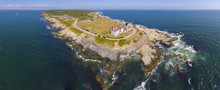 Beavertail Lighthouse In Beavertail State Park Aerial View In Summer, Jamestown, Rhode Island RI, USA. This Lighthouse, Built In 1856, At The Entrance To Narragansett Bay On Conanicut Island.