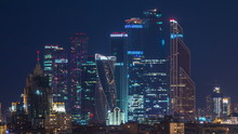 Stalin Skyskrapers Night Timelapse, Moscow International Business Center And Panoramic View Of Moscow