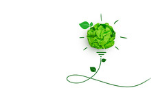 Corporate Social Responsibility(CSR) Concept, Green Crumpled Paper Light Bulb On White Background.