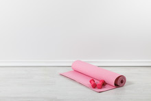 Pink Fitness Mat And Dumbbells...
