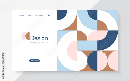 Fotografia Vector horizontal banner with simple geometric forms in trendy bauhaus style