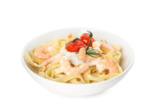 Delicious Pasta With Shrimps Isolated On White