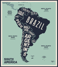 Map South America. Poster Map ...