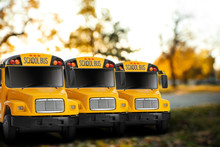 Yellow School Buses Outdoors. ...