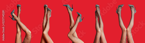 Collage of women wearing tights on red background, closeup of legs. Banner design