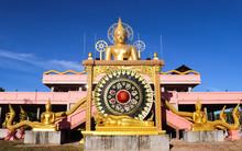 Kanthararom District, Sisaket , THAILAND - Febuary 1;2020. In Front The Buddha Statue, Asian National Flag Symbol, At Sisaket Thailand