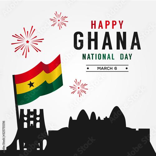 Obraz Ghana National Day Vector Design For Banner or Background - fototapety do salonu