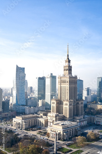 Fototapeta aerial view of the Palace of Culture and Science in the capital of Poland Warsaw obraz