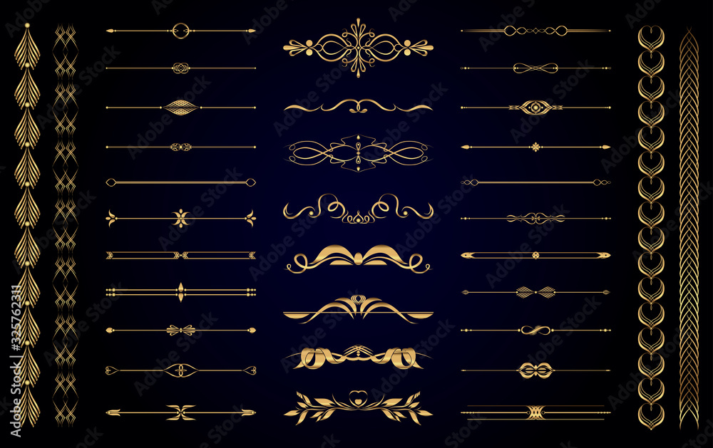 Fototapeta Set of vector gold vintage decorative elements for wedding decor and book decoration