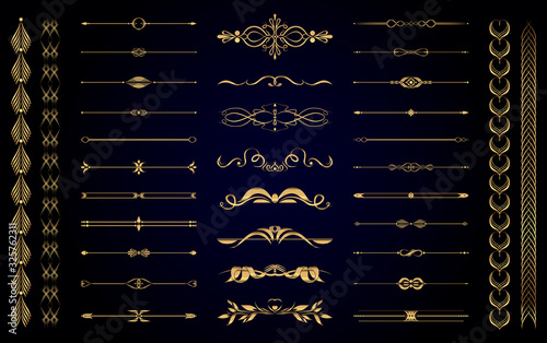 Set of vector gold vintage decorative elements for wedding decor and book decoration
