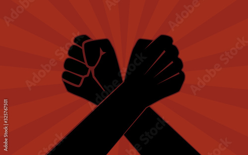 Fotografie, Obraz Silhouette two Arm wrestling in flat icon design on red color background
