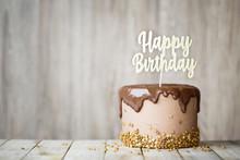Chocolate Birthday Cake With Banner