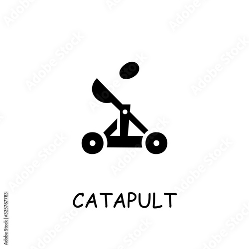Foto Catapult flat vector icon